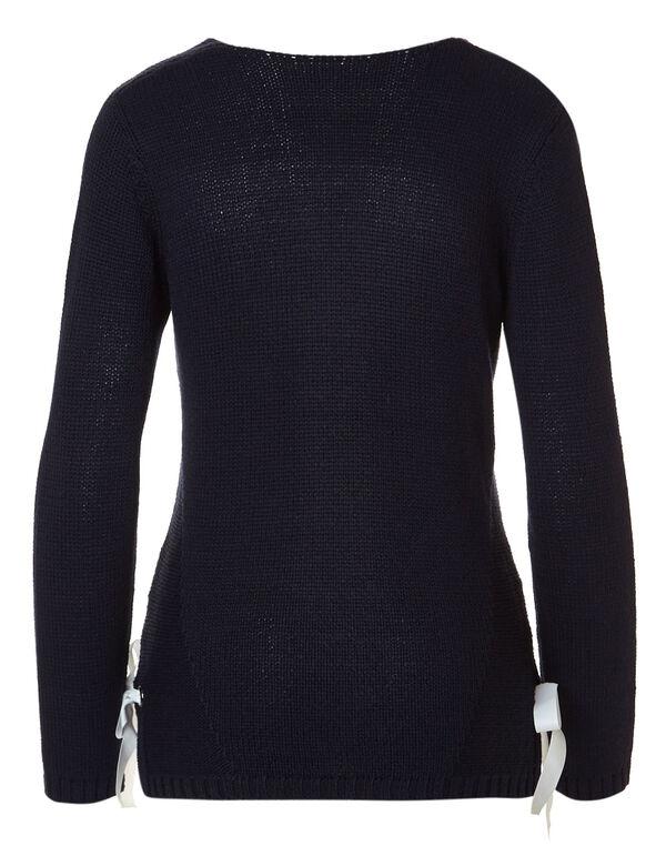 Navy Side Grommet Sweater, Navy, hi-res