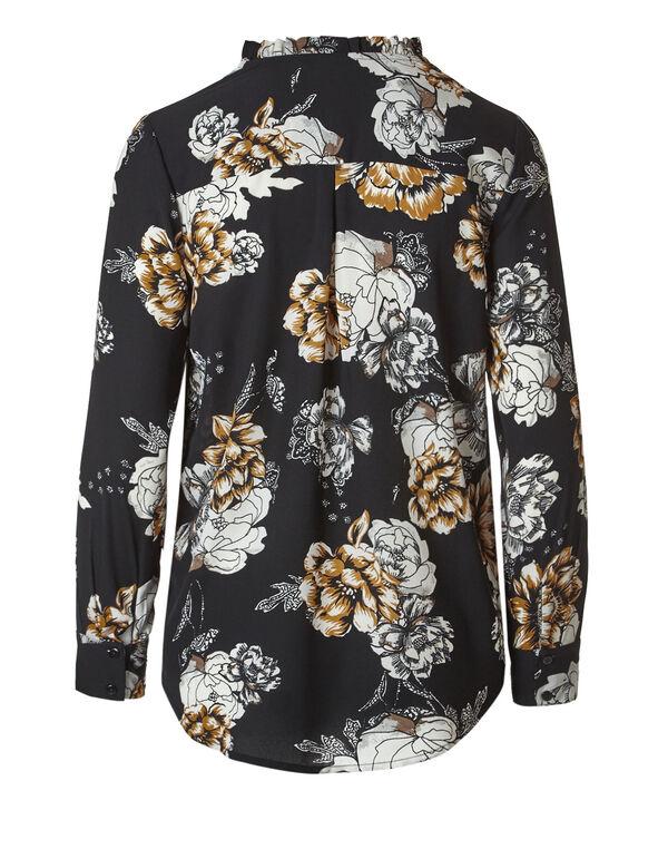 Floral Tassel Front Blouse, Black Floral, hi-res