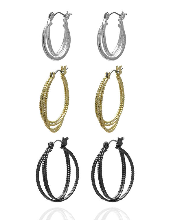 Textured Twisted Hoop Earring Set, Gold/Silver/Hematite, hi-res