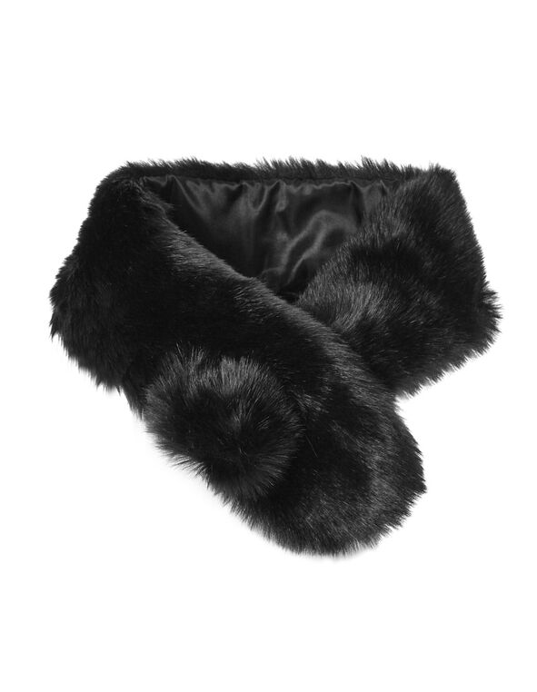 Black Faux Fur Stole, BLACK, hi-res