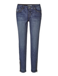 Mid Wash Zip Ankle Jean