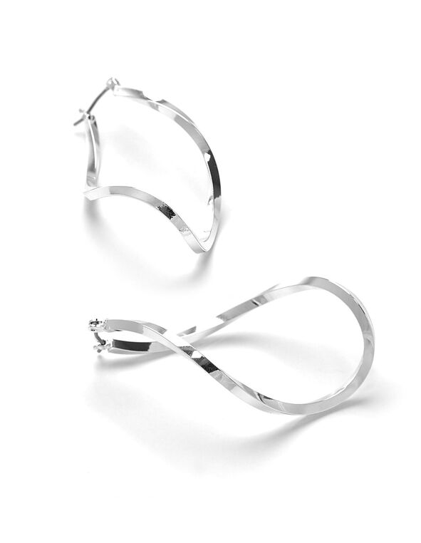 Silver Sculptured Hoop Earring, Silver, hi-res