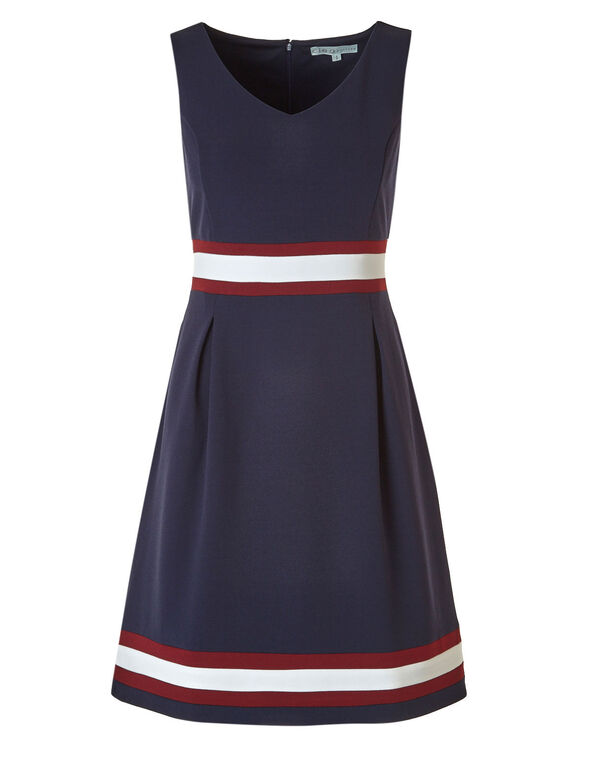 Navy Fit & Flare Dress with Pockets, Navy, hi-res
