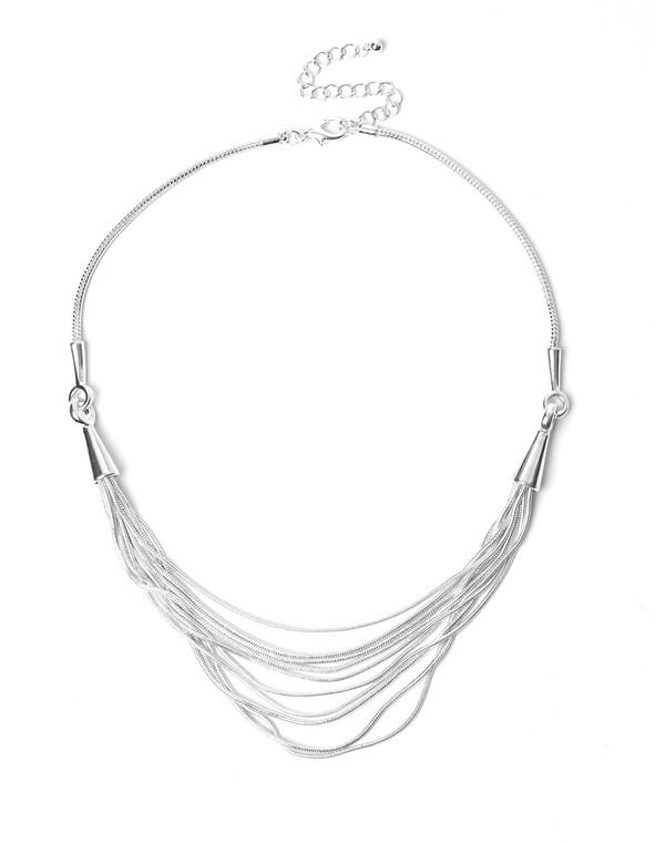 Silver Plating Chain Necklace, Silver, hi-res