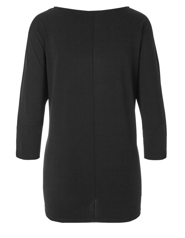 Black Zip Sleeve Top, Black, hi-res