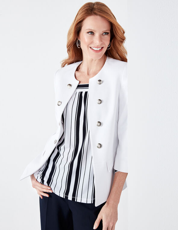 White Peplum Military Blazer, White, hi-res