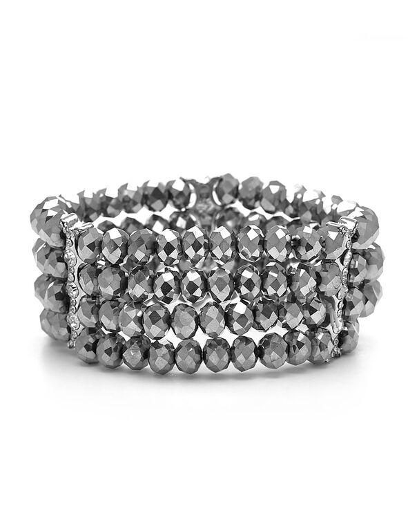 Hematite Stone Stretch Bracelet, Hematite, hi-res