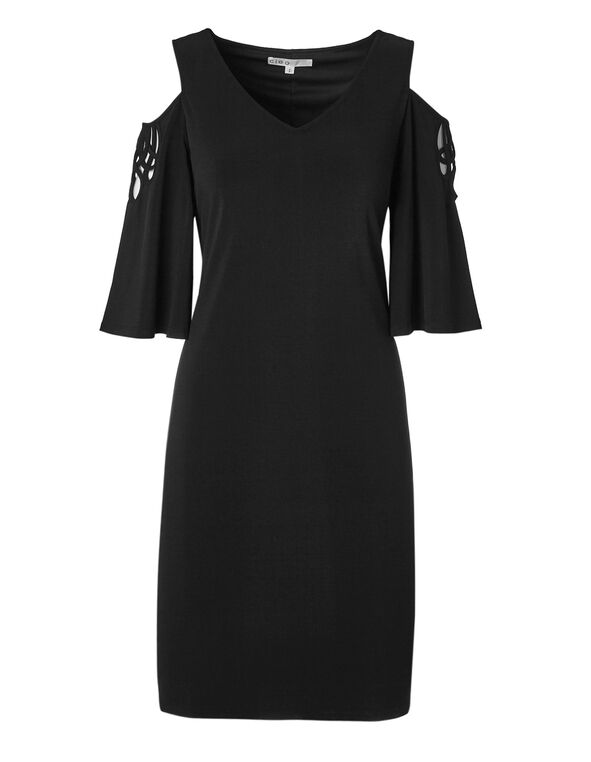Black Cut Out Sleeve Dress, Black, hi-res