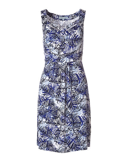 Blue Palm Print A-Line Dress, Blue Print, hi-res