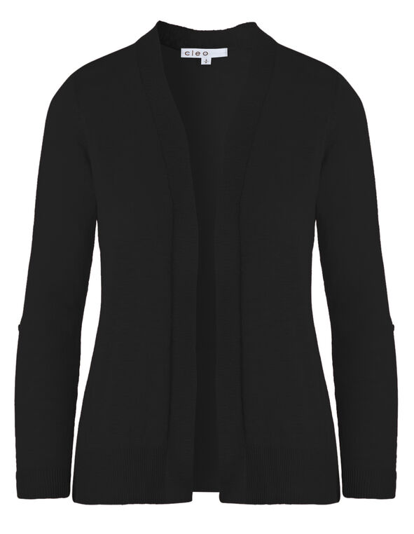 Black Slub Roll Sleeve Cardigan, Black, hi-res