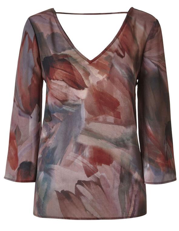 Rose Printed Back Tie Blouse, Rose, hi-res