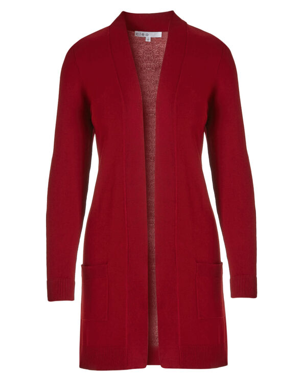 Red Draped Open Cardigan , Red, hi-res