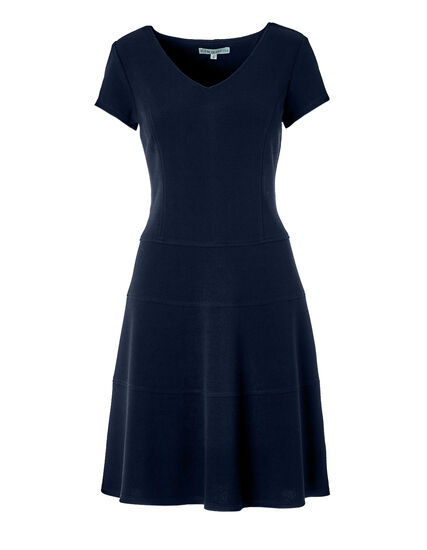 Navy Fit and Flare Dress, Navy, hi-res