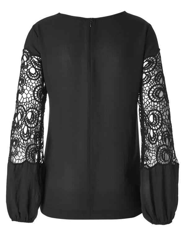 Black Crochet Sleeve Blouse, Black, hi-res