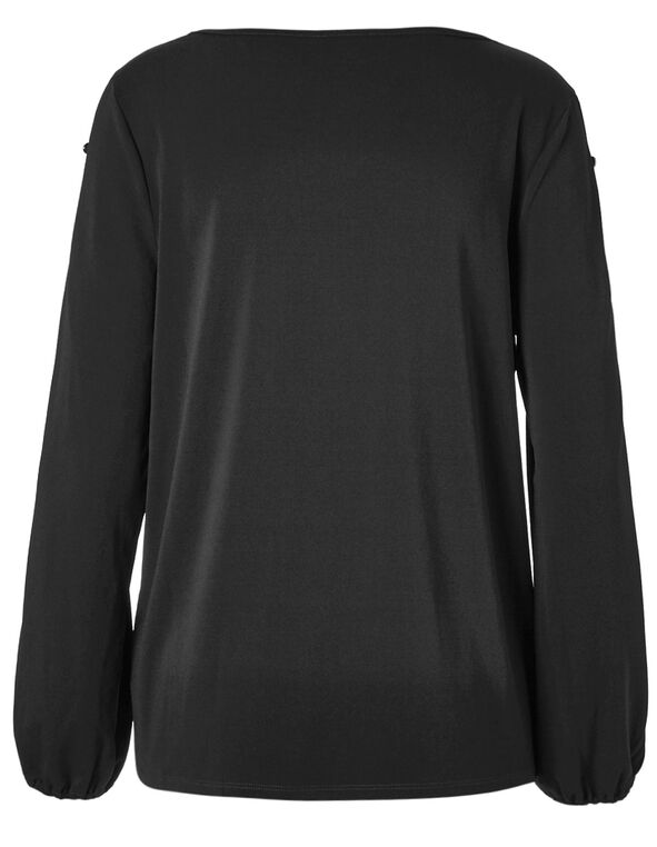 Black Button Open Sleeve Top, Black, hi-res