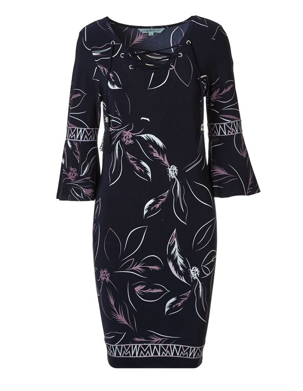 Navy Bell Sleeve Shift Dress, Navy/White/Orchid, hi-res