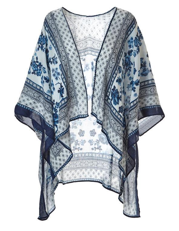 Blue Boarder Print Kimono, Blue, hi-res