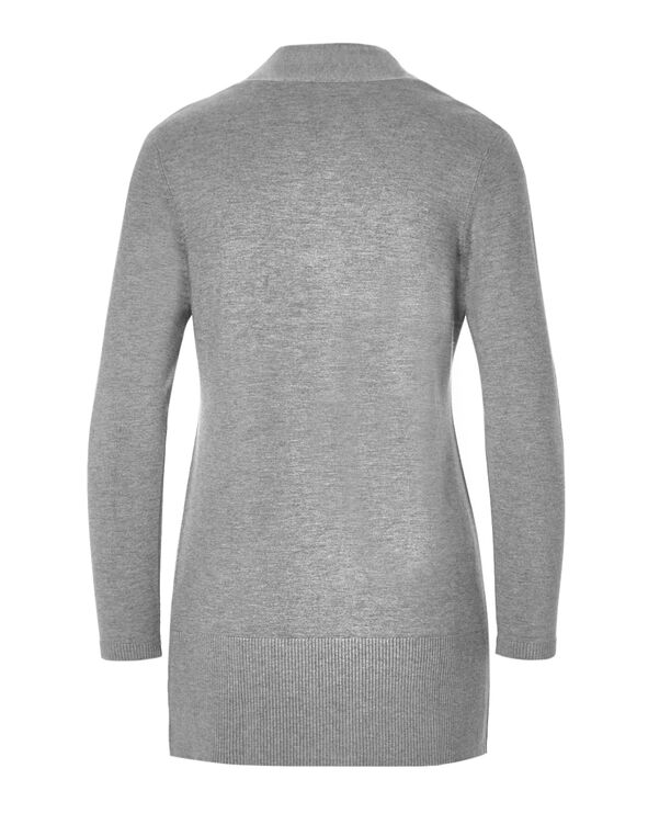 Grey Long Cardigan Sweater, Grey Melange, hi-res