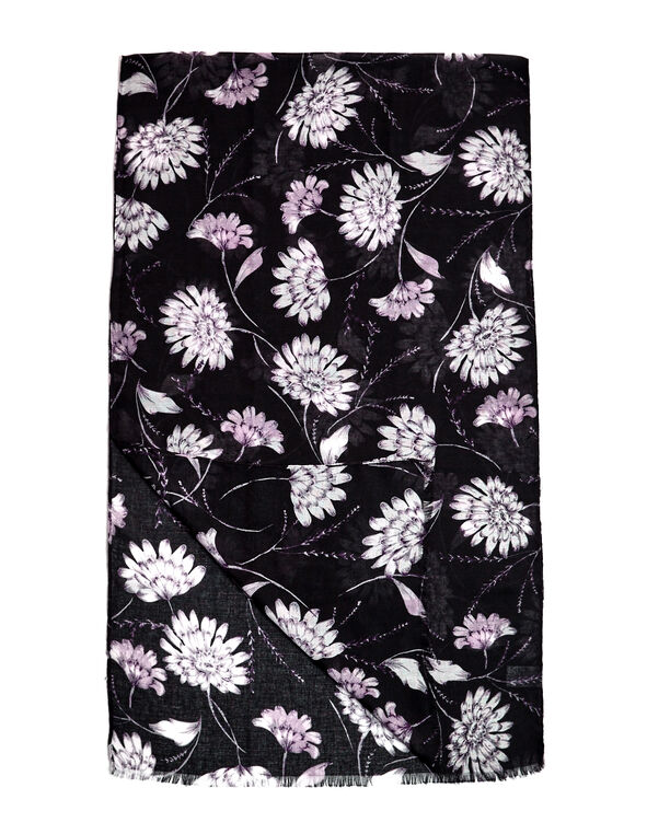 Purple Floral Fringe Scarf, Purple/White/Black, hi-res