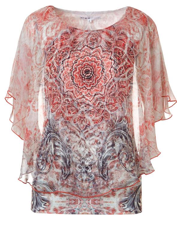 Coral Print Caftan Blouse, Coral Print, hi-res