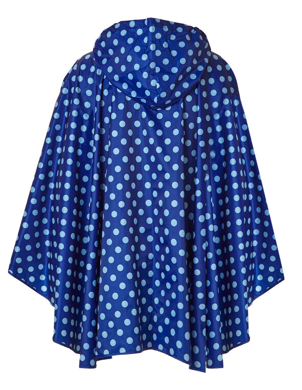 Blue Polka Dot Rain Poncho, Blue, hi-res