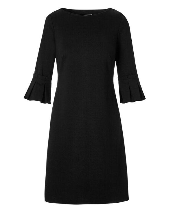 Black Ruffle Shift Dress, Black, hi-res
