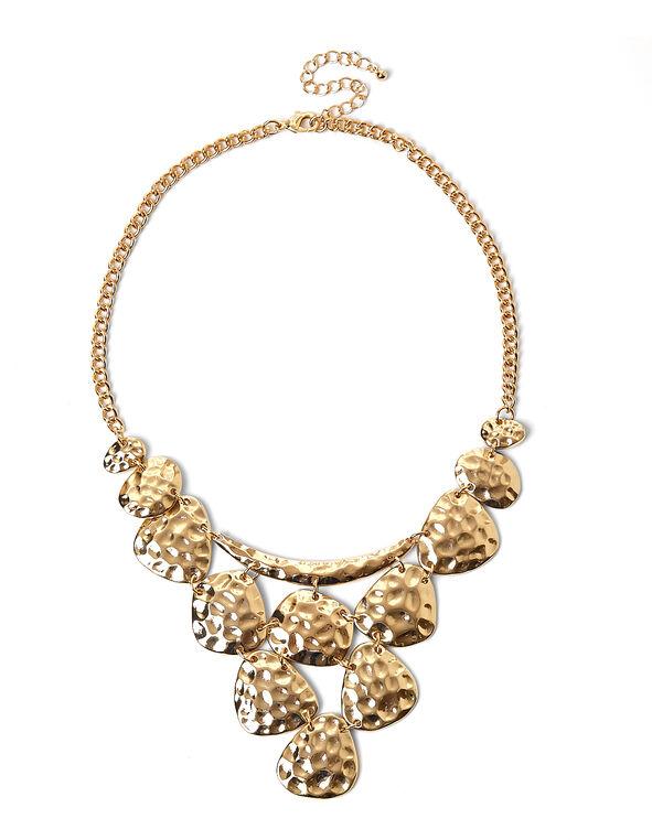 Gold Hammered Statement Necklace, Gold, hi-res
