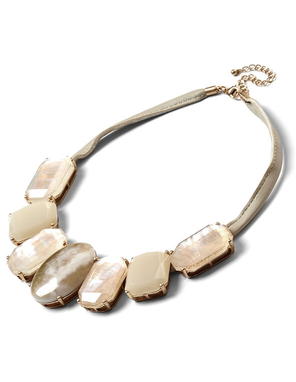 Pink Large Stone Statement Necklace, Pink, hi-res