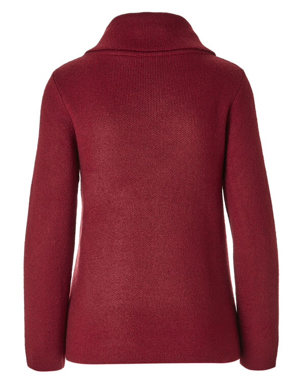 Red Shawl Neck Cardigan , Red, hi-res