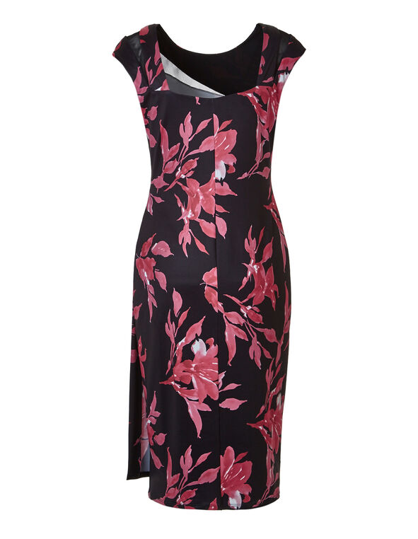Pink Floral Mesh Insert Dress, Pink/Black, hi-res