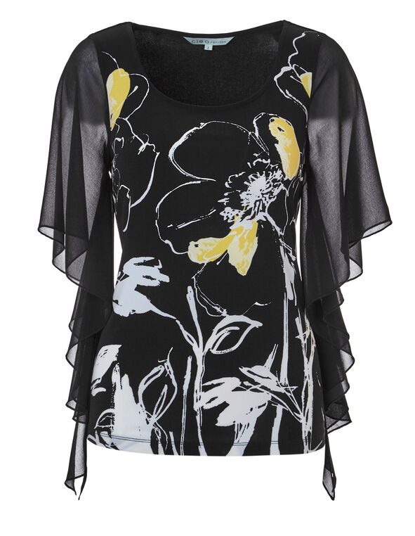 Black Printed Chiffon Sleeve Top, Black/Yellow, hi-res