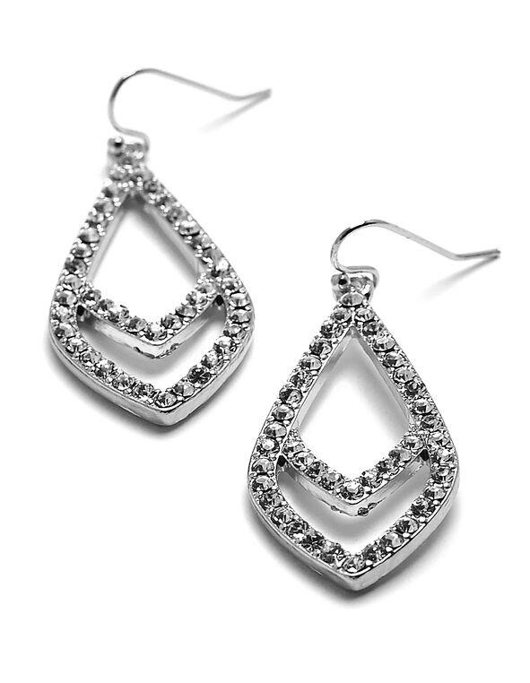 Silver Crystal Teardrop Earring, Silver, hi-res