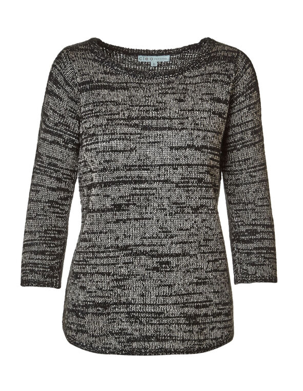 Black Cold Shoulder Sweater, Black, hi-res