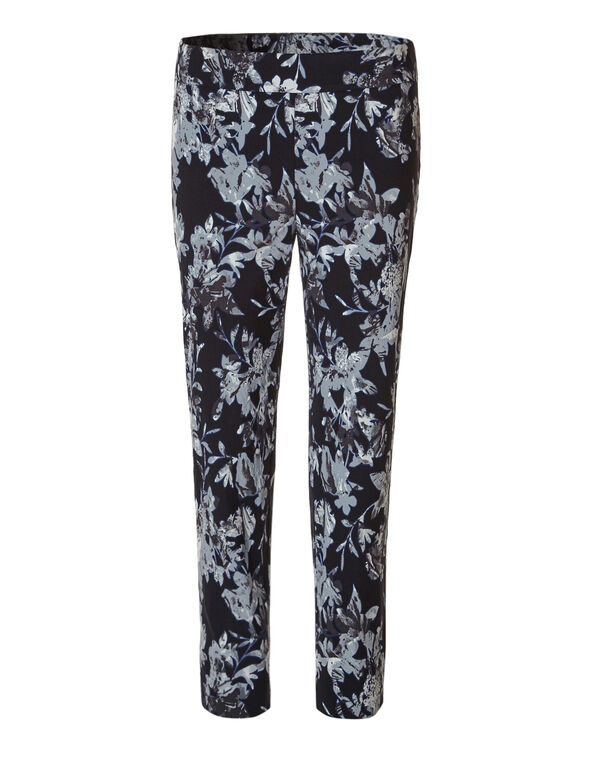 Floral Ankle Pullon Pant, Black/White, hi-res
