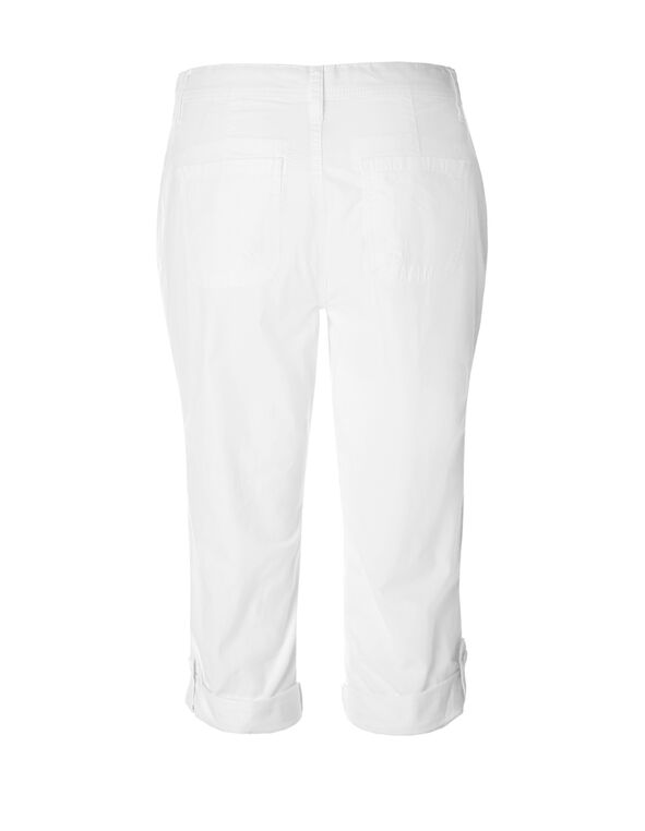 White Poplin Roll Up Capri, White, hi-res
