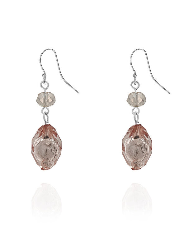 Pink Stone Drop Earring, Pink, hi-res