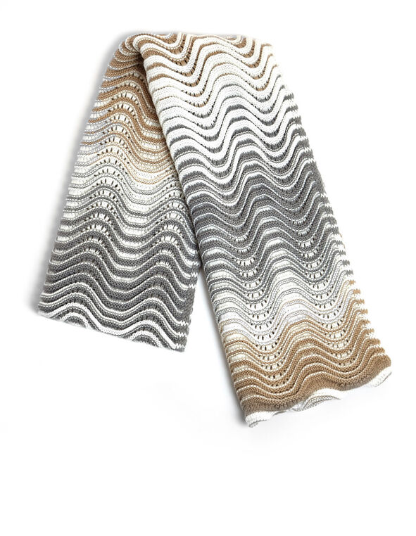 Neutral Wavy Knit Scarf, Neutral, hi-res