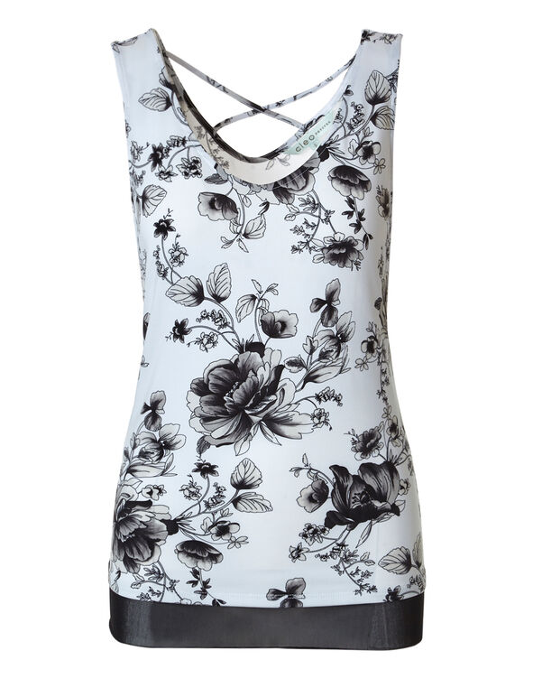 Floral Mesh Hem Top, Grey Floral, hi-res