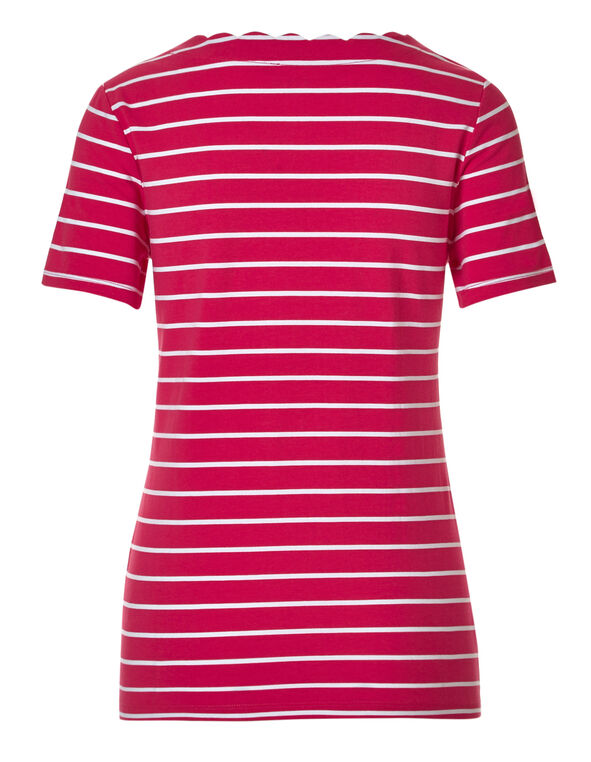 Pink Striped Scalloped Tee, Pink Stripe, hi-res