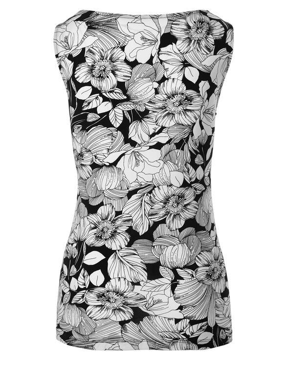 Floral Print Essential Layering Top, White/Black, hi-res