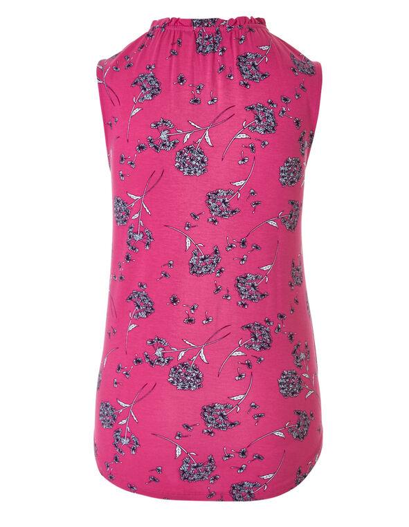 Rose Floral Tie Neck Top, Rose Floral, hi-res
