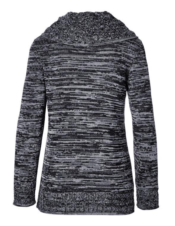 Navy Crochet Hem Sweater, Navy, hi-res