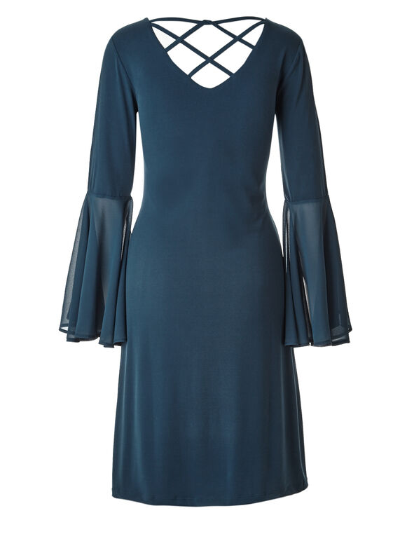 Teal Chiffon Sleeve Dress, Teal, hi-res