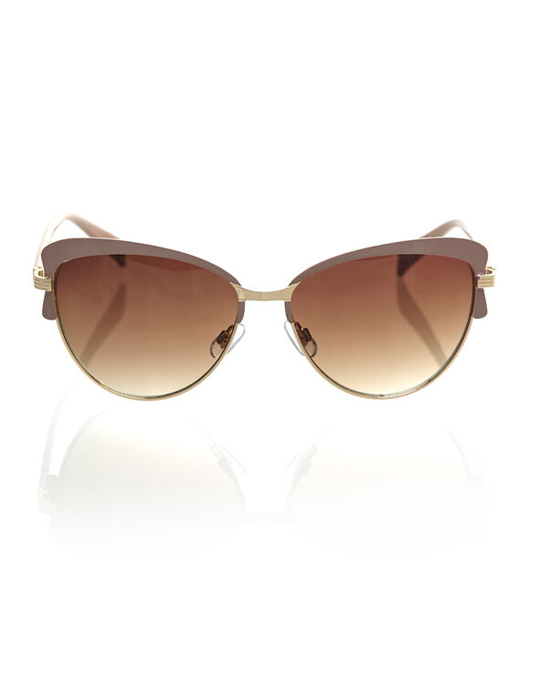 Taupe Metal Frame Sunglasses, Taupe, hi-res