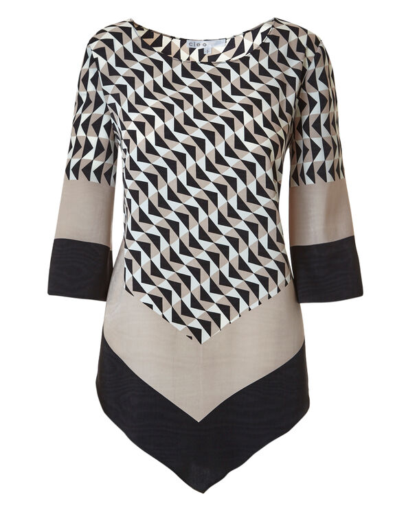 Neutral Patterned Handkerchief Blouse, Neutral Pattern, hi-res