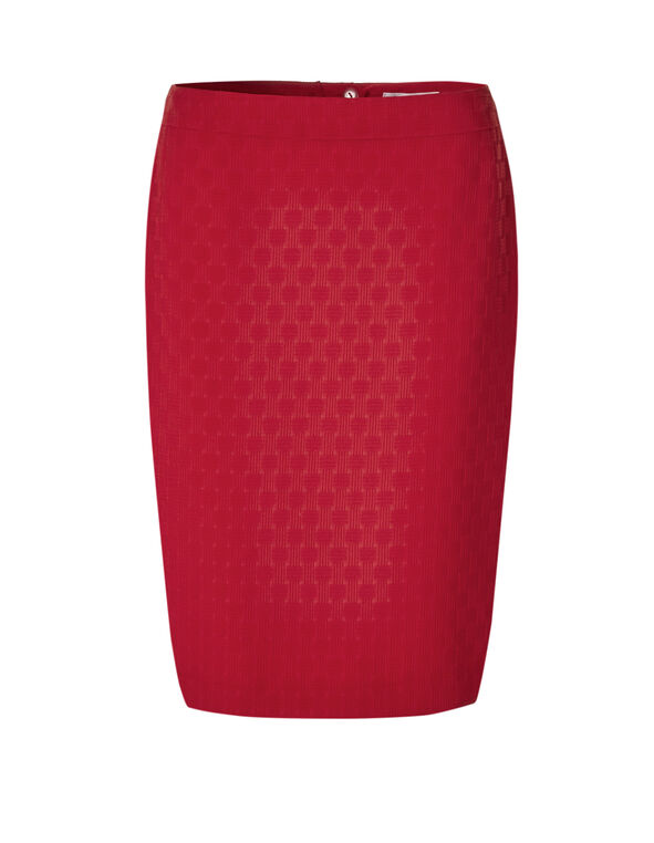 Red Basket Weave Pencil Skirt, Red, hi-res