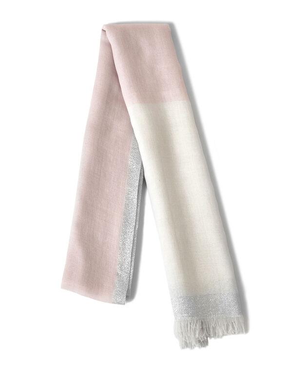 Pink Colour Block Lurex Scarf, Pink, hi-res