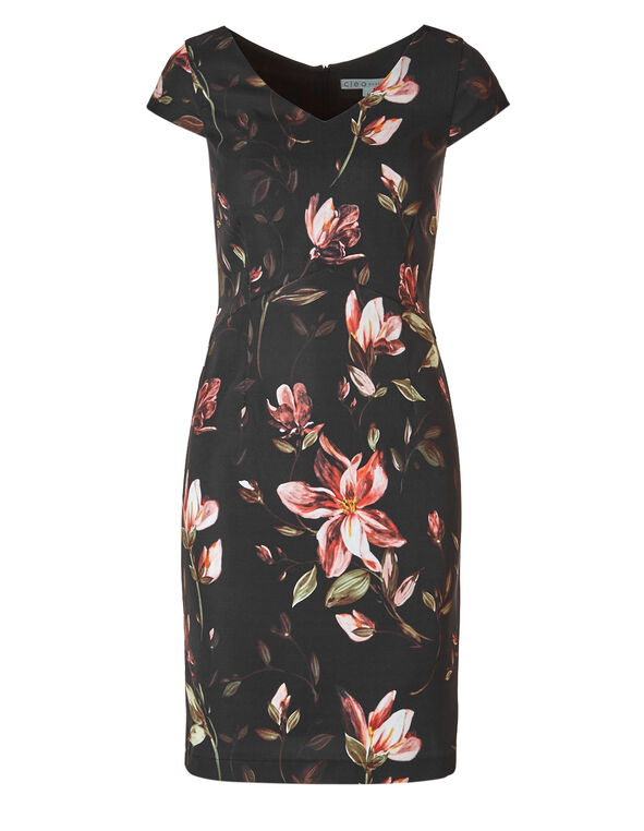 Black Floral Dress, Black, hi-res