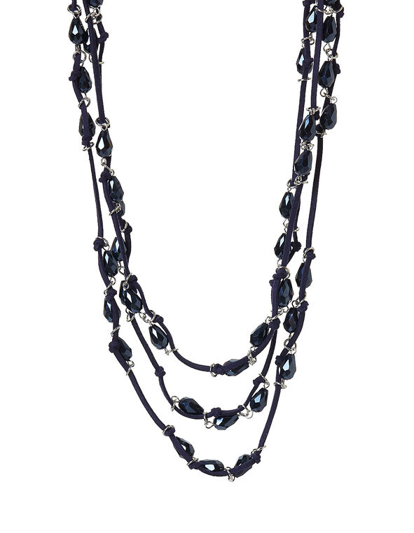Navy Cord Beaded Necklace, Navy, hi-res