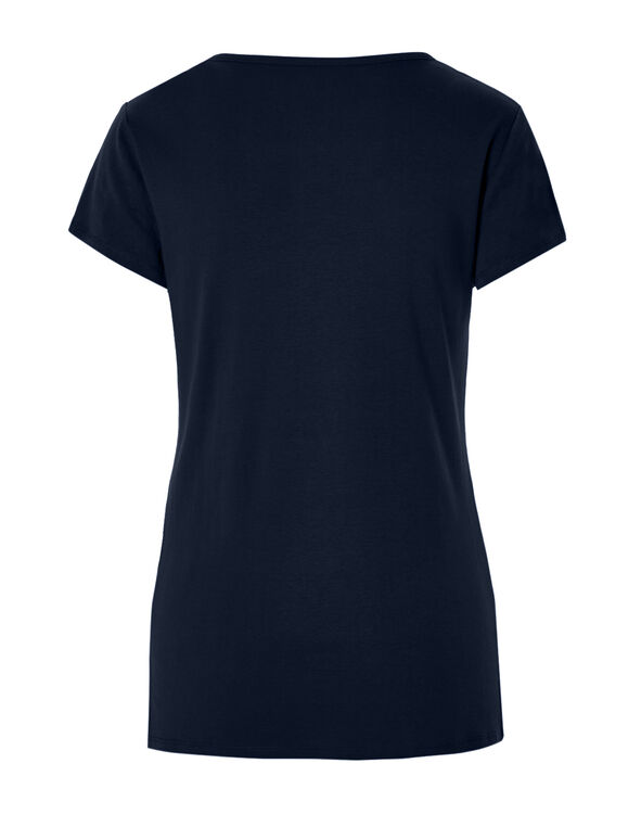 Navy Criss Cross Tee, Navy, hi-res